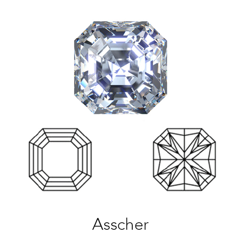 asscher cut display of LONITÉ memorial diamond from hair or cremation ashes