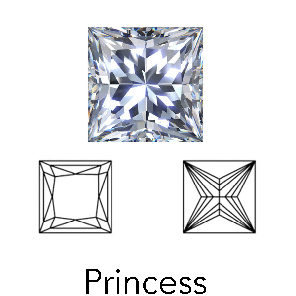 princess cut display of LONITÉ memorial diamond from hair or cremation ashes